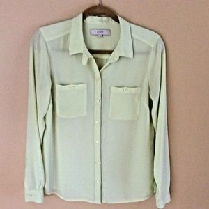 Loft Blouse Small Long Sleeve Pale Green